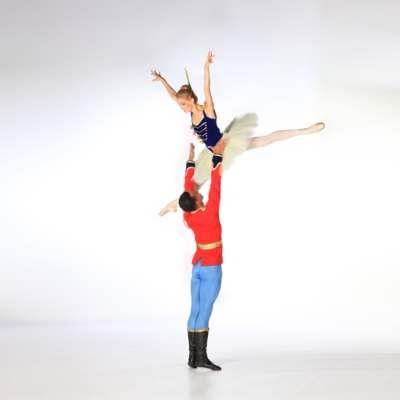 Image of Ricardo Rhodes and Kate Honea in Stars and Stripes/choreography George Balanchine